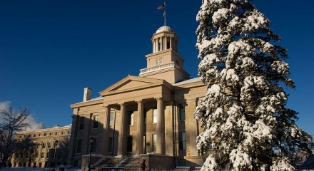 Old Capitol covered in snow.